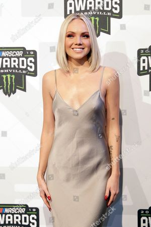 Stock Picture of Singer and songwriter Danielle Bradbery arrives at the NASCAR Cup Series Awards, in Nashville, Tenn