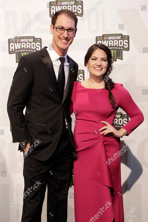 Stock Image of Joey Logano and Brittany Logano arrive at the NASCAR Cup Series Awards, in Nashville, Tenn