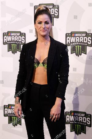Stock Photo of Cassadee Pope arrives at the NASCAR Cup Series Awards, in Nashville, Tenn