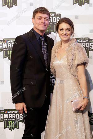 Singer Brad Arnold and Jennifer Sanderford arrive at the NASCAR Cup Series Awards, in Nashville, Tenn