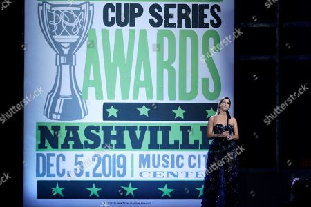Cassadee Pope performs at the NASCAR Cup Series Awards, in Nashville, Tenn