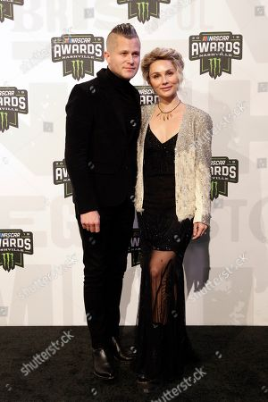 Stock Picture of Brandon Robert Young and Clare Bowen arrive at the NASCAR Cup Series Awards, in Nashville, Tenn