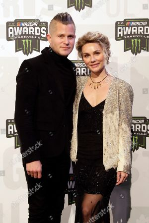 Stock Photo of Brandon Robert Young and Clare Bowen arrive at the NASCAR Cup Series Awards, in Nashville, Tenn