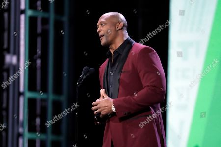 Former Tennessee Titans running back Eddie George speaks at the NASCAR Cup Series Awards, in Nashville, Tenn