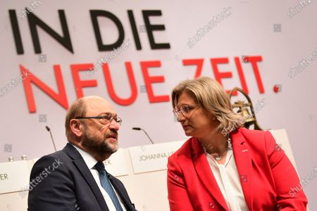 SPD Chairwoman in Saarland and candidate for deputy federal board chair Anke Rehlinger (R) and former Social Democratic Party (SPD) chairman Martin Schulz talk during the SPD Party Convention at CityCube in Berlin, Germany, 06 December 2019. SPD party members will gather in the German capital from 06 to 08 December to vote for the new party leadership.