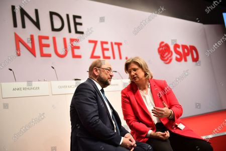 SPD Chairwoman in Saarland and candidate for deputy federal board chair Anke Rehlinger (R) and former Social Democratic Party (SPD) chairman Martin Schulz talk during the Social Democratic Party (SPD) Party Convention at CityCube in Berlin, Germany, 06 December 2019. The SPD party members gather in the German capital from 06 to 08 December and vote for the new party leadership.