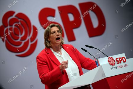 SPD Chairwoman in Saarland and candidate for deputy federal board chair Anke Rehlinger speaks during the Social Democratic Party (SPD) Party Convention at CityCube in Berlin, Germany, 06 December 2019. The SPD party members gather in the German capital from 06 to 08 December and vote for the new party leadership.