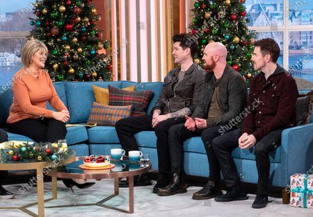 Ruth Langsford with The Script - Danny O'Donoghue, Mark Sheehan, Glen Power
