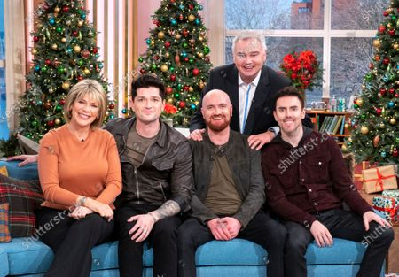 Eamonn Holmes and Ruth Langsford with The Script - Danny O'Donoghue, Mark Sheehan, Glen Power