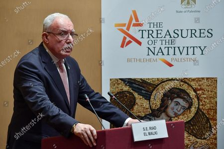 Foreign Affairs Minister of the Palestinian National Authority (PNA) Riyad al-Maliki speaks during a press conference on the occasion of the completion of restoration and rehabilitation works of the Church of the Nativity in Bethlehem, in Vatican City, 06 December 2019.