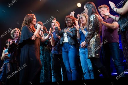 Alanis Morissette, Diane Paulus, and the cast of Jagged Little Pill