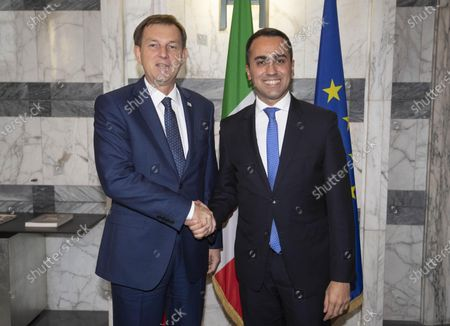 Italian Foreign Minister Luigi Di Maio (R) meets his Slovenian counterpart Miro Cerar during the MED Conference at Farnesina Palace, Rome, Italy, 06 December 2019.