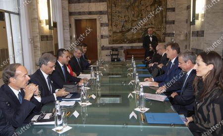 Italian Foreign Minister Luigi Di Maio (L) meets his Slovenian counterpart Miro Cerar (R) during the MED Conference at Farnesina Palace, Rome, Italy, 06 December 2019.