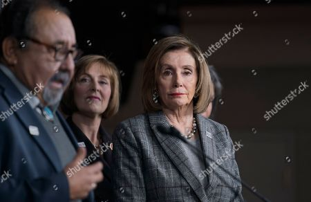 Nancy Pelosi, Raul Grijalva, Kathy Castor. Speaker of the House Nancy Pelosi, D-Calif., joined from left by House Natural Resources Committee Chair Raul Grijalva, D-Ariz., and House Select Committee on the Climate Crisis Kathy Castor, D-Fla., discusses her recent visit to the UN Climate Change Conference in Madrid, Spain, during a news conference with the congressional delegation to that summit, at the Capitol in Washington