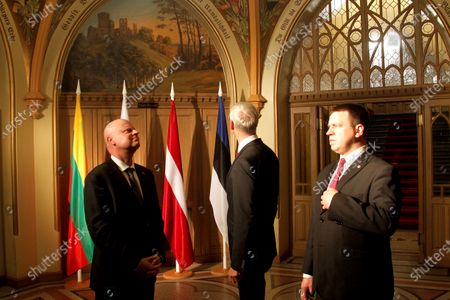Latvian Prime Minister Krisjanis Karins (C), Estonia Prime Minister Juri Ratas (R) and Lithuanian Prime Minister Saulius Skvernelis (L) pose for the media before meeting with Polish Prime Minister Matesz Morawiecki, in Riga, Latv?ia, 06 December 2019. Issues related to regional security and the European Union will be raised during the meeting.