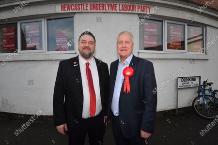Stock Image of Labour candidate for Newcastle Under Lyme Carl Greatbatch and Labour Party Chairman Ian Lavery