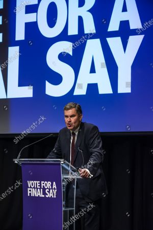 David Gauke during a rally to encourage tactical voting in the upcoming general election and demand a public vote on the outcome of Brexit. The rally, organised by the Vote for a Final Say campaign and For our Future's Sake, takes place ahead of the last week of campaigning for the 12 December General Election.