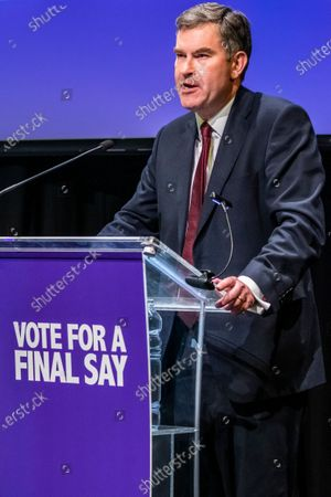 Stock Photo of David Gauke during a rally to encourage tactical voting in the upcoming general election and demand a public vote on the outcome of Brexit. The rally, organised by the Vote for a Final Say campaign and For our Future's Sake, takes place ahead of the last week of campaigning for the 12 December General Election.