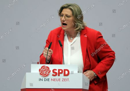 SPD Chairwoman in Saarland and candidate for deputy federal board chair Anke Rehlinger speaks during the party's convention in Berlin, Germany, 06 December 2019. The party's conference will take place from 06 to 08 December 2019.