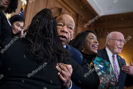 Nancy Pelosi, John Lewis, Terri Sewell, Patrick Leahy. Civil rights leader Rep. John Lewis, D-Ga., is hugged as House Democrats gathered before passing the Voting Rights Advancement Act to eliminate potential state and local voter suppression laws, at the Capitol in Washington, . At right is Rep. Terri Sewell, D-Ala., who introduced the bill and who represents Selma, Ala., a city that was at the forefront of the 1960s civil rights movement. They are joined at far right by Sen. Patrick Leahy, D-Vt