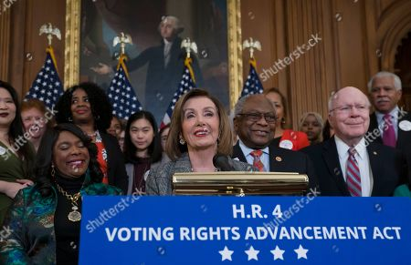 Nancy Pelosi, Terri Sewell, Patrick Leahy. Speaker of the House Nancy Pelosi, D-Calif., joined from left by Rep. Terri Sewell, D-Ala., House Majority Whip James Clyburn, D-S.C., and Sen. Patrick Leahy, D-Vt., holds an event before passing the Voting Rights Advancement Act to eliminate potential state and local voter suppression laws, at the Capitol in Washington, . Sewell, who introduced the bill, represents Selma, Ala., a city that was at the forefront of the 1960s civil rights movement