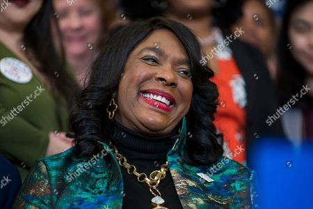 Rep. Terri Sewell, D-Ala., smiles as House Democrats hold an event before passing the Voting Rights Advancement Act to eliminate potential state and local voter suppression laws, at the Capitol in Washington, . Sewell, who introduced the bill, represents Selma, Ala., a city that was at the forefront of the 1960s civil rights movement