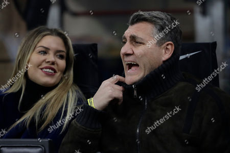 Christian Vieri, Italian former player of Inter Milan and Italy, reacts at the start of a Serie A soccer match between Inter Milan and Roma, at the San Siro stadium in Milan, Italy, Friday, Dec.6, 2019