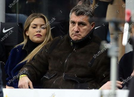 Former soccer player Christian Vieri attends the Italian Serie A soccer match Inter FC vs AS Roma at the Giuseppe Meazza stadium in Milan, Italy, 06 December 2019.