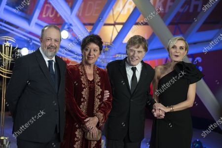 Sibylle Szaggars and Robert Redford and Melita Toscan and Sarim El Fassi Fihri du plantier attend the tribute to US actor and director Robert Redford during the 18th annual Marrakech International Film Festival, in Marrakech, Morocco, 06 December 2019. The film festival runs from 29 November to 07 December 2019.