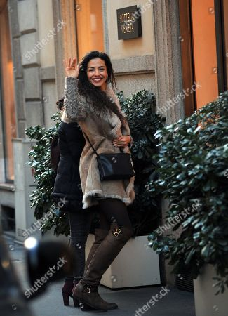 Stock Image of Laura Barriales shopping with a friend the Bottega Veneta boutique to buy a bag