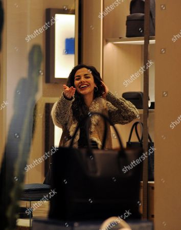 Stock Picture of Laura Barriales shopping with a friend the Bottega Veneta boutique to buy a bag