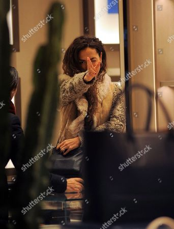 Stock Photo of Laura Barriales shopping with a friend the Bottega Veneta boutique to buy a bag