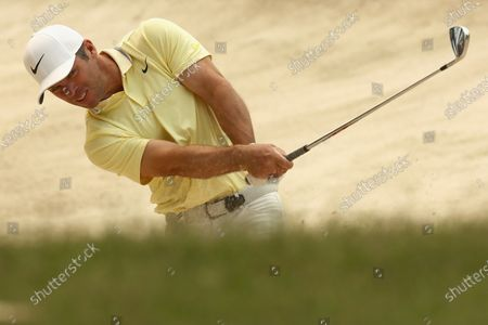 Paul Casey of Britain hits the ball out of a bunker during the round three of The Australian Open golf championship at The Australian Golf Club in Sydney, Australia, 07 December 2019.