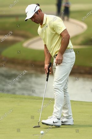 Paul Casey of Britain putts on 13th hole during the round three of The Australian Open golf championship at The Australian Golf Club in Sydney, Australia, 07 December 2019.