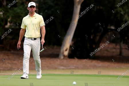 Paul Casey of Britain reacts on the 16th during the round three of The Australian Open golf championship at The Australian Golf Club in Sydney, Australia, 07 December 2019.