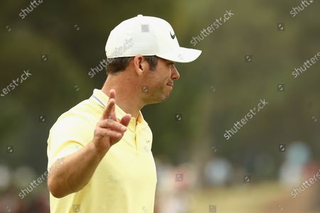 Paul Casey of Britain reacts during the round three of The Australian Open golf championship at The Australian Golf Club in Sydney, Australia, 07 December 2019.