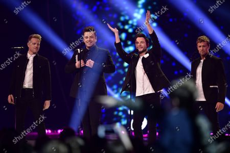 Irish pop band Westlife performing at the Swedish Idol finale at the Globe arena.