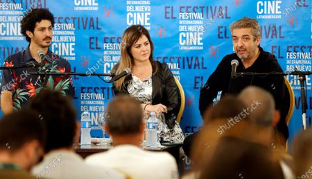 Argentinian actors Ricardo Darin (R) and his son Chino Darin (L) participate in a press conference in the framework of the 41st International Festival of New Latin American Cinema in Havana, in Havana, Cuba, 06 December 2019.