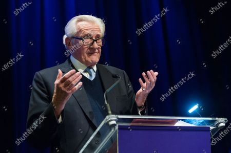 Michael Heseltine speech during a rally at the Mermaid Theatre to encourage tactical voting in the upcoming general election and demand a public vote on the outcome of Brexit on 06 December, 2019 in London, England. The rally, organised by the Vote for a Final Say campaign and For our Future's Sake, takes place ahead of the last week of campaigning for the 12 December General Election.