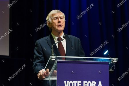 Stock Image of Jim Gauke, father of the former Conservative MP David Gauke, speech during a rally at the Mermaid Theatre to encourage tactical voting in the upcoming general election and demand a public vote on the outcome of Brexit on 06 December, 2019 in London, England. The rally, organised by the Vote for a Final Say campaign and For our Future's Sake, takes place ahead of the last week of campaigning for the 12 December General Election.