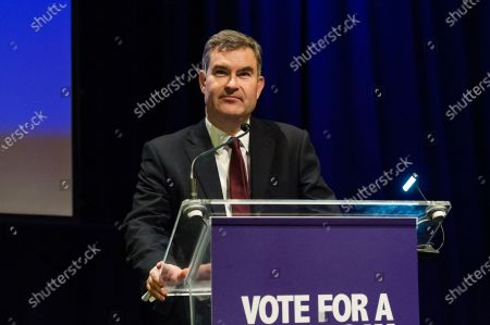 Former Conservative MP David Gauke speech during a rally at the Mermaid Theatre to encourage tactical voting in the upcoming general election and demand a public vote on the outcome of Brexit on 06 December, 2019 in London, England. The rally, organised by the Vote for a Final Say campaign and For our Future's Sake, takes place ahead of the last week of campaigning for the 12 December General Election.