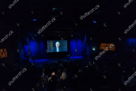 Stock Picture of Former Conservative Prime Minister Sir John Major speaks via videolink during a rally at the Mermaid Theatre to encourage tactical voting in the upcoming general election and demand a public vote on the outcome of Brexit on 06 December, 2019 in London, England. The rally, organised by the Vote for a Final Say campaign and For our Future's Sake, takes place ahead of the last week of campaigning for the 12 December General Election.