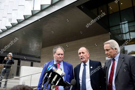 """Mark Stephen, Vernon Unsworth, L. Lin Wood. British cave explorer Vernon Unsworth, center, with his attorneys, Mark Stephens, left, and Lin Wood, right, walk out of Los Angeles U.S. District Court. Elon Musk did not defame Unsworth when he called him """"pedo guy"""" in an angry tweet, a Los Angeles jury found Friday. Unsworth, who participated in the rescue of 12 boys and their soccer coach trapped for weeks in a Thailand cave last year, had angered the Tesla CEO by belittling his effort to help with the rescue as a """"PR stunt"""