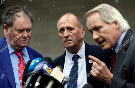 """Mark Stephen, Vernon Unsworth, L. Lin Wood. British cave explorer Vernon Unsworth, center, with his attorneys, Mark Stephens, left, and Lin Wood, take questions from the media outside U.S. District Court. Elon Musk did not defame Unsworth when he called him """"pedo guy"""" in an angry tweet, a Los Angeles jury found Friday. Unsworth, who participated in the rescue of 12 boys and their soccer coach trapped for weeks in a Thailand cave last year, had angered the Tesla CEO by belittling his effort to help with the rescue as a """"PR stunt"""