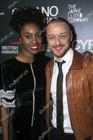 Anita-Joy Uwajeh (Roxane) and James McAvoy (Cyrano de Bergerac)