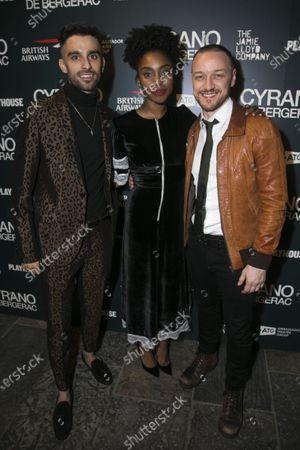 Eben Figueiredo (Christian), Anita-Joy Uwajeh (Roxane) and James McAvoy (Cyrano de Bergerac)