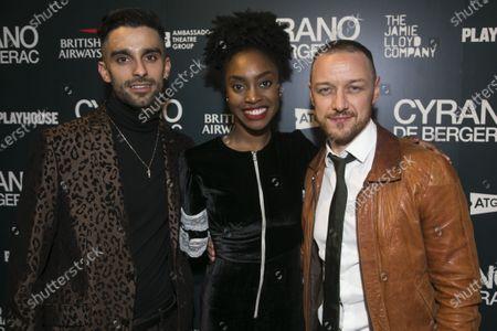 Stock Image of Eben Figueiredo (Christian), Anita-Joy Uwajeh (Roxane) and James McAvoy (Cyrano de Bergerac)