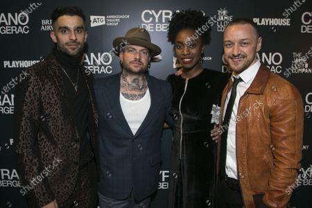 Eben Figueiredo (Christian), Jamie Lloyd (Director), Anita-Joy Uwajeh (Roxane) and James McAvoy (Cyrano de Bergerac)