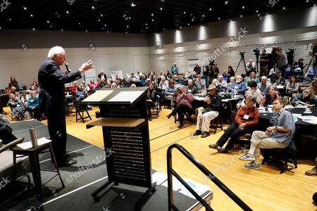 Stock Photo of Democratic presidential candidate Sen. Bernie Sanders, I-Vt., speaks during the Iowa Farmers Union Presidential Forum, in Grinnell, Iowa