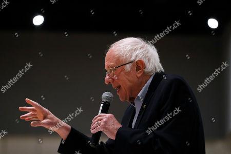 Democratic presidential candidate Sen. Bernie Sanders, I-Vt., speaks during the Iowa Farmers Union Presidential Forum, in Grinnell, Iowa